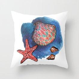 Seashells and starfish Throw Pillow