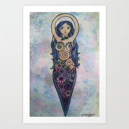 Pearlescent floral spiral goddess Art Print