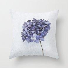 Dried Blue Hydrangea Throw Pillow