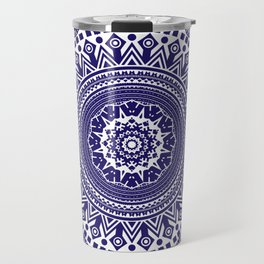 Mandala 006 Midnight Blue on White Background Travel Mug