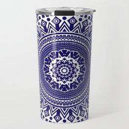 Mandala 006 Midnight Blue on White Background Travel Mug