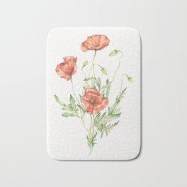 Fragile Beauty - Watercolor Poppies Bath Mat