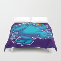 cookie monster Duvet Covers featuring CTHOOKIE MONSTER by BeastWreck