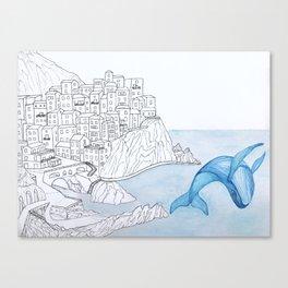 Portofino Whale Canvas Print