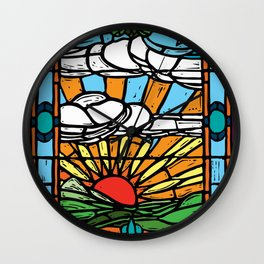 Sunrise Stained Glass Window Wall Clock