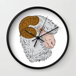 Merino Ram Sheep Head Drawing Wall Clock