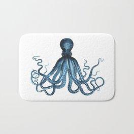 Octopus coastal ocean blue watercolor Bath Mat