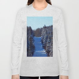 Mountain road in Winter Long Sleeve T-shirt