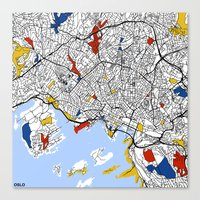 oslo Canvas Prints featuring Oslo by Mondrian Maps
