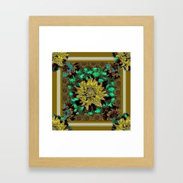 Stylized Abstracted  Khaki-Yellow Chrysanthemums Floral Framed Art Print