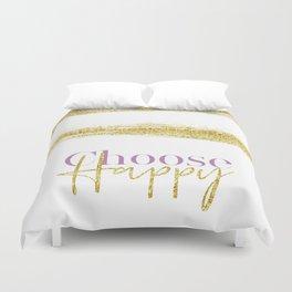 Text Art CHOOSE HAPPY | white & gold Duvet Cover