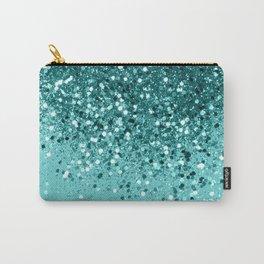 Tropical Blue Ocean Lady Glitter #1 #shiny #decor #art #society6 Carry-All Pouch