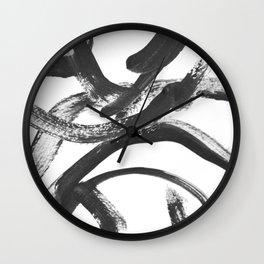 Interlock black and white paint swirls Wall Clock