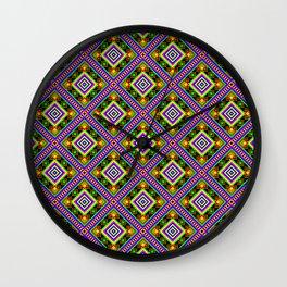 Folk Rainbow Pyramid - Romb Mandala Pattern - Black - First Colorful Symbol Wall Clock