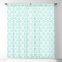 SPEARMINT pale mint green art deco pattern on white background Blackout Curtain