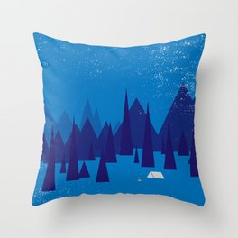 Sleeping in the blue mountains under a blanket of snow Throw Pillow