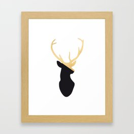 Gold and black deer Framed Art Print