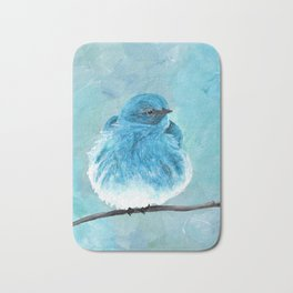 Mountain Bluebird Acrylic Art, Blue Bird Painting, Bird on a Branch, Wall Art, Fluffy Bird Bath Mat