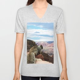 Squirrel Overlooking Grand Canyon Unisex V-Neck