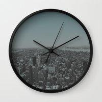 manhattan Wall Clocks featuring Manhattan by Leah Flores