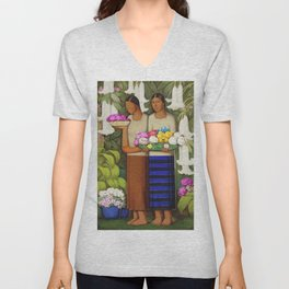 Flowers of Mexico, Angel's Trumpet, Tiger Lilies, Bougainvillea,& Peonies by Alfredo Martinez Unisex V-Neck
