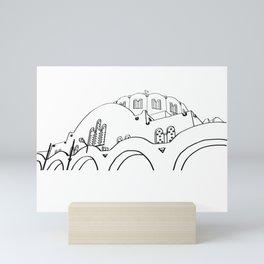 Santorini Silhouette Mini Art Print