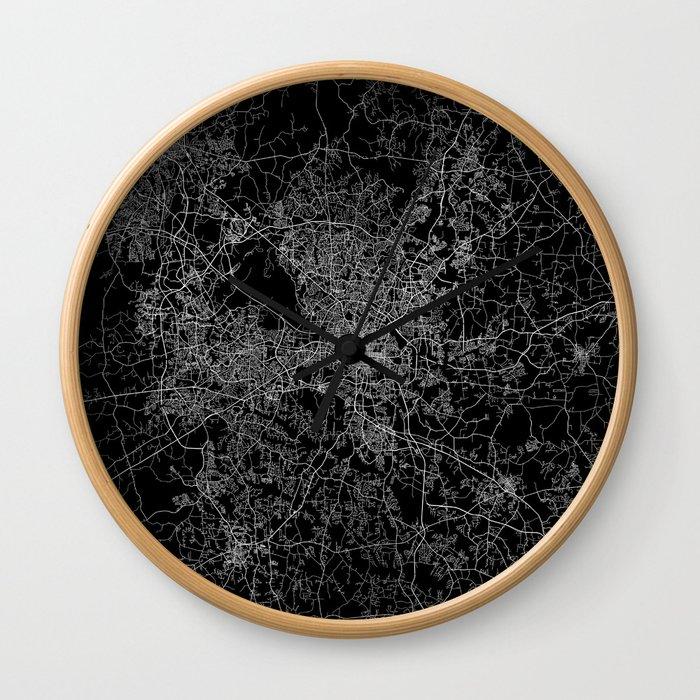 raleigh map north carolina Wall Clock