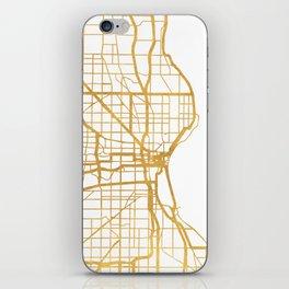 MILWAUKEE WISCONSIN CITY STREET MAP ART iPhone Skin