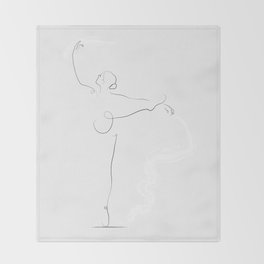 'Poise', Dancer Line Drawing Throw Blanket
