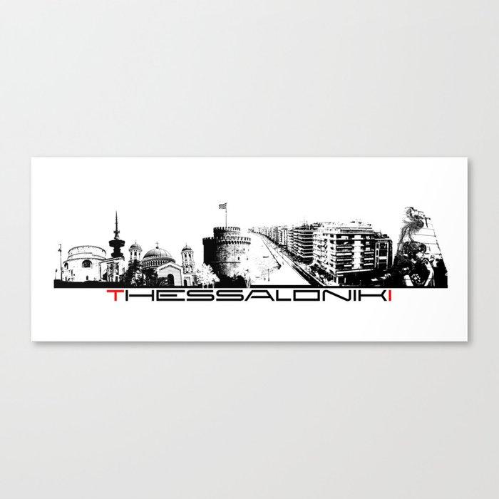 Thessaloniki skyline city black Canvas Print