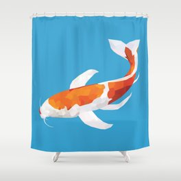 Geo Koi Orange & White Shower Curtain