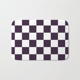 Checkered - White and Dark Purple Bath Mat