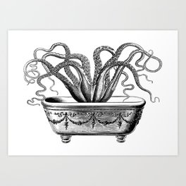 Tentacles in the Tub | Octopus in Bath | Vintage Octopus | Black and White | Art Print