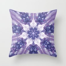 Violet and Magenta Fractal Kaleidoscope Mandala Throw Pillow