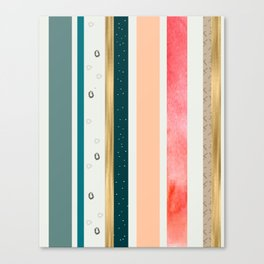 Gold stripes, coral and blue stripes Canvas Print