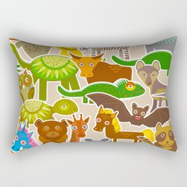collection Funny cartoon Animals seamless pattern on beige background. Vector Rectangular Pillow