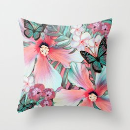 Peachy Mint Hibiscus Tropical Throw Pillow