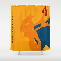 charizard Shower Curtains featuring 006 Charizard by AuroraDrops