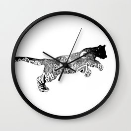 Black Panther Jungle, Hidden Scene, Moon, Stars, Jungle plants, Leaves Wall Clock