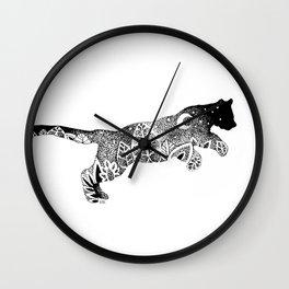 Black Panther Jungle, Hidden Scene, Moon, Stars, Jungle plants, Leaves Wall Clock