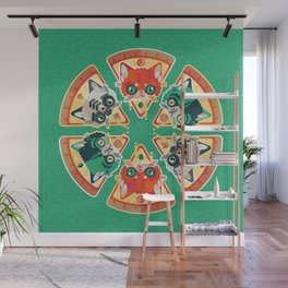 Pizza Slice Cats  Wall Mural