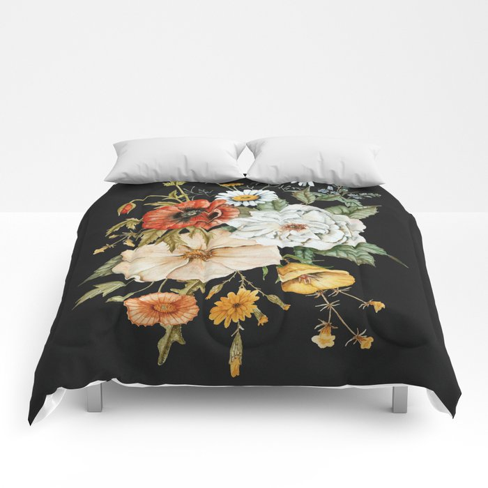 Wildflower Bouquet on Charcoal Comforters