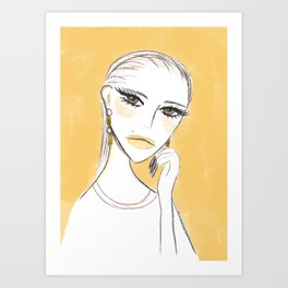 A girl with the foil earrings Art Print