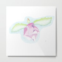 Hibiscus fairy: floral pattern made of color pencil drawing Metal Print