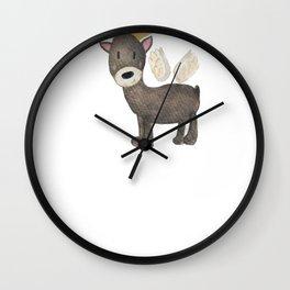 Reindeer Angel Watercolor Reindeer Wall Clock