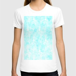 White winter forest- With snow covered trees- pattern on teal T-shirt