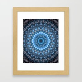 Digital mandala with light blue dominant. Framed Art Print