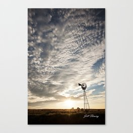 Sandhills Windmill @ Sunset Verticle Canvas Print