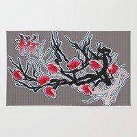 cherry blossoms Area & Throw Rugs featuring Cherry Blossoms by Robin Curtiss