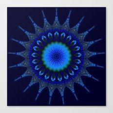 Blue kaleidoscope fractal star Canvas Print